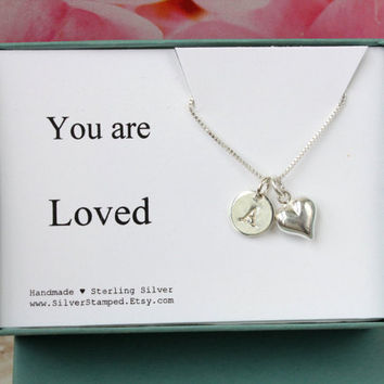 You are Loved sterling silver necklace with heart and initial - gift for daughter, wife, girlfriend, grandma, granddaughter, anniversary