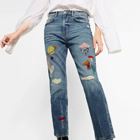 Light Blue Tribal Embroided Ripped Jeans