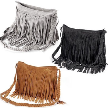 Suede bag, Tan bag, grey bag, black bag, beige bag, handbags, shoulder bag, fringe bag, tassel bag