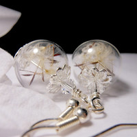 Silver Dandelion Earrings Make A Wish Dandelion Seed Hollow Lampwork Bead Round Earrings