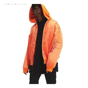 High street orange jacket Hip Hop Suit Pullover Winter Jacket Men Coat fashion men windbreaker