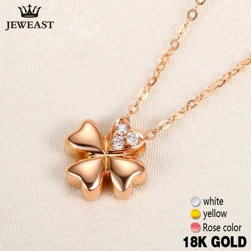 18k Gold Diamond Necklace Pendant Female Women Girl Miss Gift Chain Charm Clover Trendy Party Rose White Yellow Customization