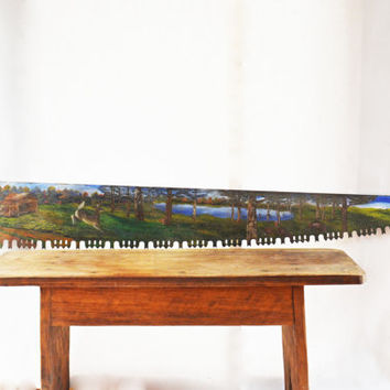 Rustic Wall Décor, Extra Long Antique Decorative Saw, Hunters Décor, Mancave Wall Hanging, Cabin Wall Décor, Hand Painted Folk Art