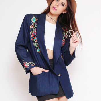 Vtg 90s Adorable Trendy Fall Tribal Print Blue Jean Boyfriend Blazer Jacket M/L