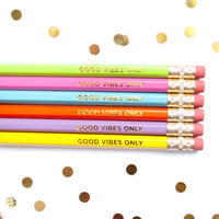 Good Vibes Only Pencil Set in Rainbow