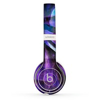 The Grunge Dark Blue Painted Overlay Skin Set for the Beats by Dre Solo 2 Wireless Headphones