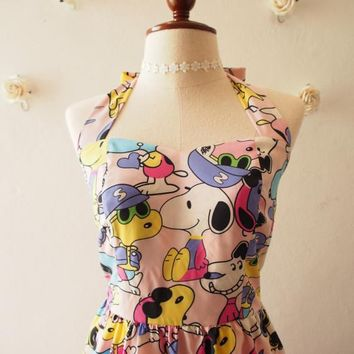 Snoopy n Friends Pale Pink Snoopy Dress cartoon Dress Vintage Retro Summer Dress Pink Sundress 80's Kid Dress