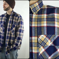 Vintage Blue & Yellow Plaid Flannel Long Sleeve Button up Shirt 90's Flannel 90's grunge Size XL Dark Blue Plaid Button Down