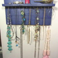 Ready to Ship Jewelry Organizer Display Hanger Holder Shelf Blue Stain Handmade Rustic