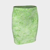 Greenery and white swirls doodles Fitted Skirt Fitted Skirt