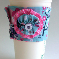 Geisha Girls Coffee Cup Cozy / Cherry Blossom Drink Sleeve