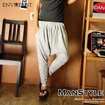 Harem Casual Baggy Cargo Cotton Drop Crotch Men's Pants Black Khaki Joggers