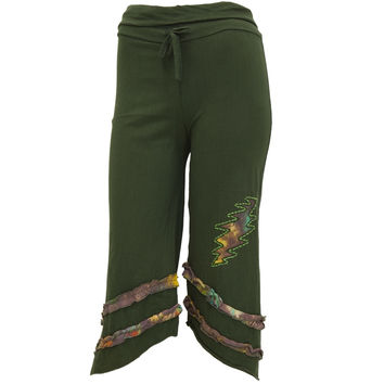 Grateful Dead - Lightning Bolt Juniors Forest Green Capri Sweatpants
