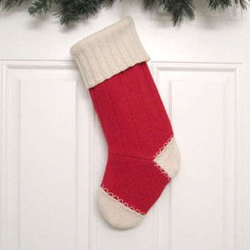 Christmas Stocking Holiday Decoration Handmade from Red Felted Cashmere Wool Sweater by mmwolters (no.523)