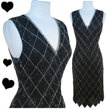 Dress Vintage 80s 20s Black Silver ART DECO Gatsby Prom Beaded Cocktail Party Dress S