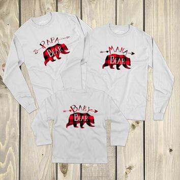 Bear Family Buffalo Plaid and White - Family Matching Outfits