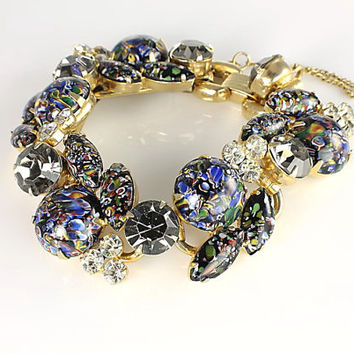 Juliana Millefiori Bracelet, Black diamond Rhinestone Bracelet, Venetian glass Vintage jewelry
