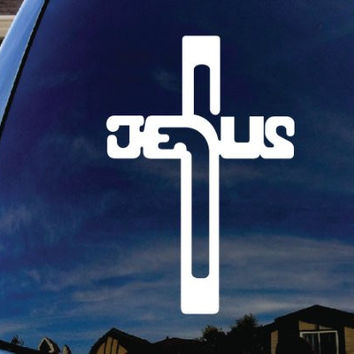 "Cross Jesus Christ Car Window Vinyl Decal Sticker 5"" Tall"