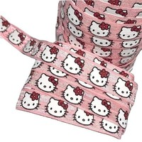 "Light pink hello kitty print 5/8"" fold over elastic FOE"
