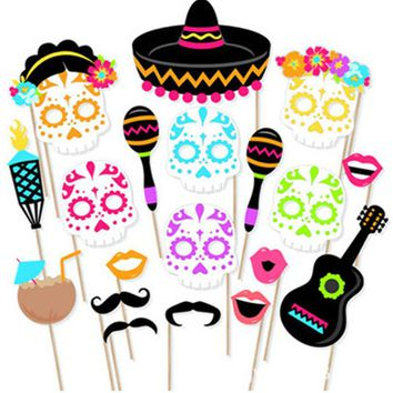 2018 New Arrival Cinco de Mayo Photo Booth Props set Birthday Weddings, Parties photobooth party masks