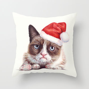 Grumpy Cat | Grumpy Santa Throw Pillow by Olechka