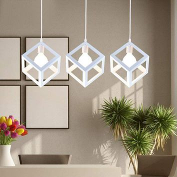 Hanging Light Square Lampshade E27 Bulb Retro Ceiling Light Fitting Lamp Guard Wire Cage Lamp Cover Lamp shades Chandelier