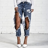 Ripped Holes Pencil Pants Jeans [73422340122]