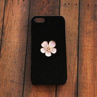 Black Case Galaxy S5 S4 S3 iPhone 5 Case Flower iPhone Case Pink Flowers Cell Phone Cases Cute Gifts for Her Birthday Vintage Handmade Case