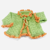 Knitted Baby Jacket - Green, Orange, 0 - 3 months