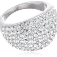 Sterling Silver White Dome with Swarovski Elements Ring, Size 7