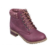 Wine/Rose Peppered Trim Wine Ankle Bootie Boots