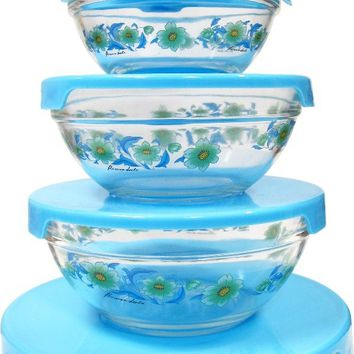 5pc. Glass Bowl with blue lids and blue flowers Case Pack 12