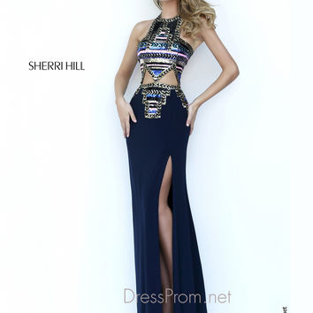 Sleeveless High Neckline Formal Prom Gown By Sherri Hill 11184