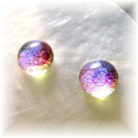 Teeny Tiny Magenta Opal Translucent Mermaid Tears Dichroic Glass Earrings 8mm Round