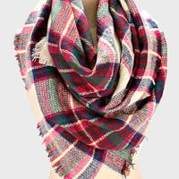 Purple Pink Navy Blue Mix Plaid Poncho Fringed Scarf