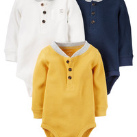 3-Pack Thermal Long-Sleeve Bodysuits