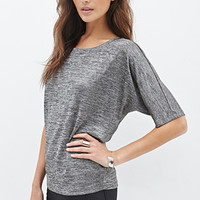 LOVE 21 Metallic Knit Dolman Top Charcoal