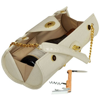 Wine Carrier and  Purse   White