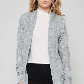 Long Sleeve Cardigan with Pockets Heather Grey