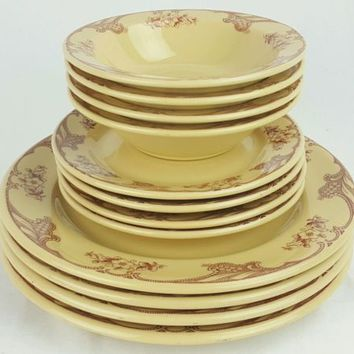 Shenango Inca Ware Rose Point Set Dinner & Salad Plate Soup Bowl 12 Piece Set