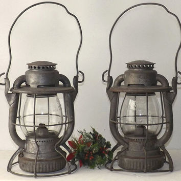 2 Antique Dietz Vesta Railroad Lanterns NYCS, Clear Embossed Original CNX Globes, Vintage New York Central System RR, Industrial Decor