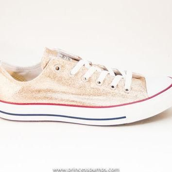 Champagne Gold Glitter Canvas Converse All Star Low Top Sneakers Shoes