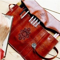 Twilight Retro Leather Pencil & Brush Pouch