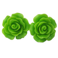 "Women's ""Large Rose"" Earrings by Juicy Lucy (Lime Green)"