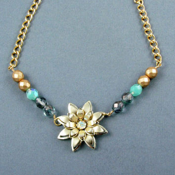 Beaded Flower Necklace Vintage Gold Flower by laurenblythedesigns