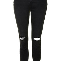 MOTO Washed Black Busted Knee Jamie Jeans - Washed Black
