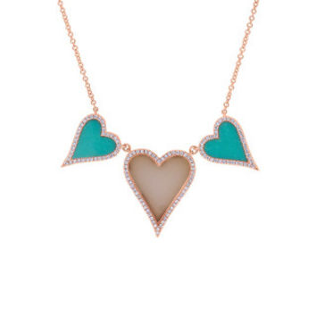 0.30ct Diamond & 2.95ct Composite Turquoise & Pink Opal 14k Rose Gold Heart Necklace