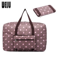 WEIJU Women Travel Luggage Bag Big Size Folding Carry-on Duffle Bag Foldable Traveling Bags Dot Printing Ladies Handbags
