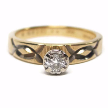 Vintage 14K Artcarved .10 Carat Round Cut Diamond Engagement Ring Size 6.5