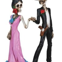 Skeleton Couple Holding Hands in a Dance, Day of the Dead Statue 5.5H